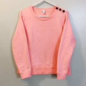 J Crew Crew Neck Sweater w Button Details Size Med